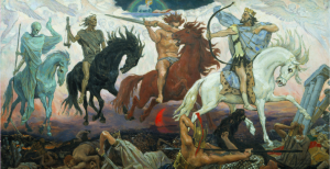 Four Horsemen of Apocalypse, by Viktor Vasnetsov. Painted in 1887